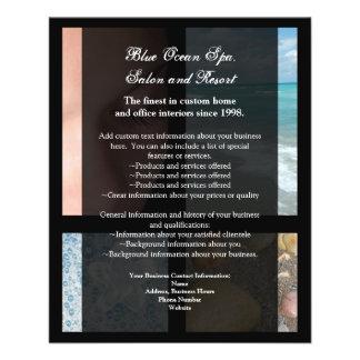 Tema de lujo azul y negro del balneario folleto 11,4 x 14,2 cm
