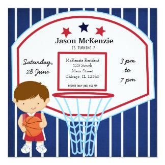 Tema del baloncesto invitación 13,3 cm x 13,3cm