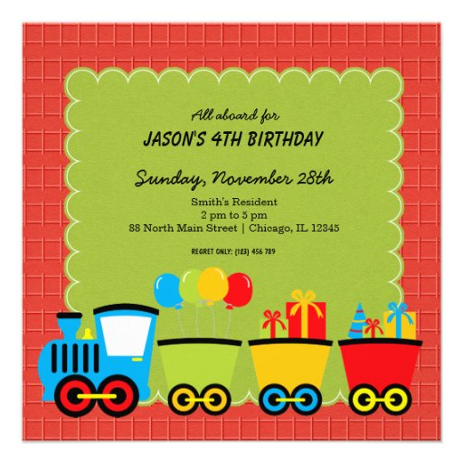 Tema del cumpleaños de los trenes invitación 13,3 cm x 13,3cm