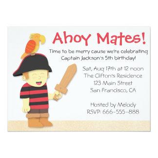 Tema del cumpleaños del pirata: Muchacho del Invitación 13,9 X 19,0 Cm