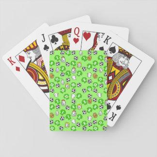 Tema del fútbol con el camisetas verde baraja de cartas