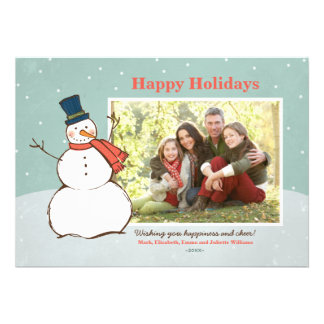 Tema del muñeco de nieve del invierno de la tarjet comunicados personalizados