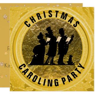 Tema del Victorian del oro del fiesta de Caroling Invitación 13,3 Cm X 13,3cm