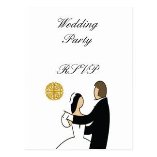 Tema escocés y céltico del boda de los pares postal