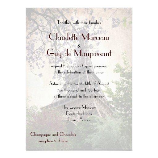 Tema francés de la torre Eiffel del boda Invitación Personalizada