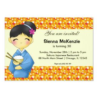 Tema japonés del cumpleaños invitación 12,7 x 17,8 cm