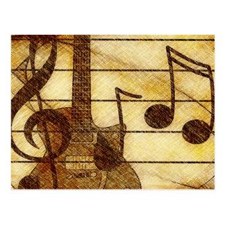 Tema musical con la guitarra postal