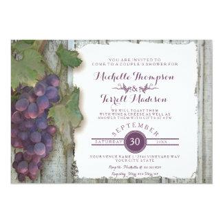 Tema nupcial de las uvas de vino del viñedo de la invitación 12,7 x 17,8 cm