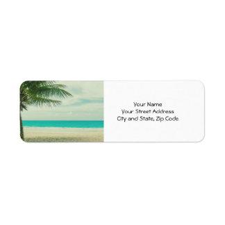 Tema retro de la playa etiqueta de remite