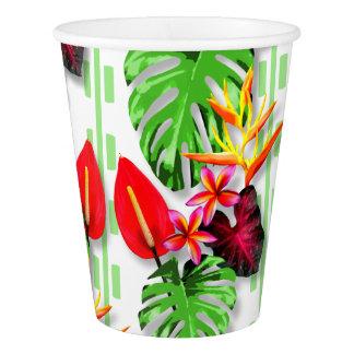 Tema tropical de moda hermoso de la flor de la vaso de papel