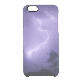 Tempestad de truenos púrpura en la noche funda transparente para iPhone 6/6s