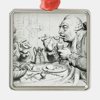 Templanza que disfruta de una comida frugal ornamento para reyes magos