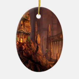Templo abstracto de la fantasía del fuego ornamentos de navidad