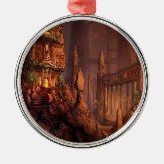 Templo abstracto de la fantasía del fuego ornaments para arbol de navidad
