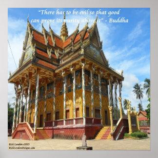 Templo budista camboyano y poster famoso de la cit