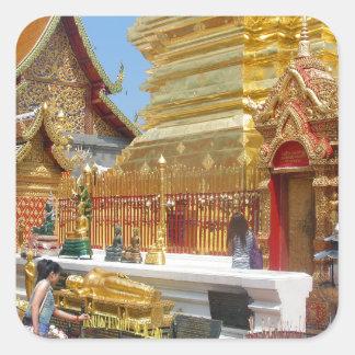 Templo budista de Doi Suthep Pegatina Cuadrada