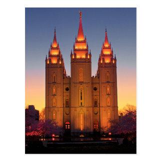 Templo de Salt Lake de la postal en la oscuridad