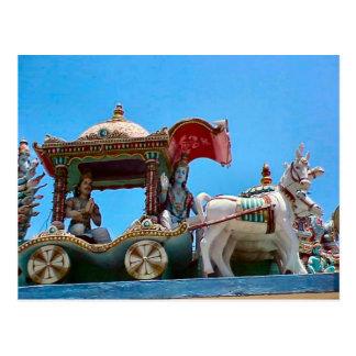 Templo hindú, caballo y carro postal
