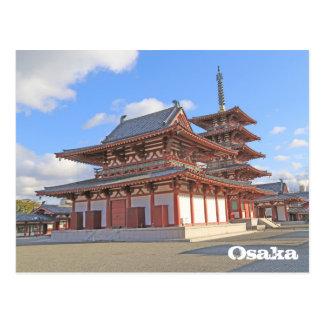 Templo japonés en la postal de Osaka