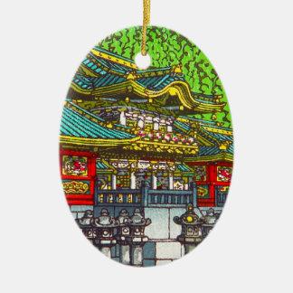 Templo oriental temático japonés clásico del adorno ovalado de cerámica