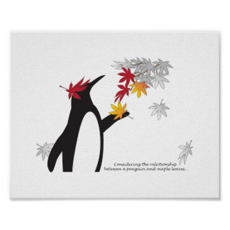 Temporada de otoño de la cita del pingüino y de póster