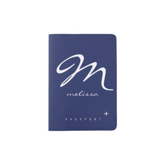 tenedor con monograma profundo-azul del pasaporte portapasaportes