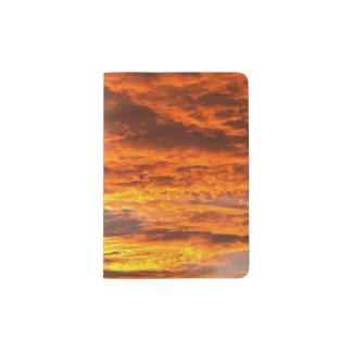 Tenedor del pasaporte de la puesta del sol porta pasaportes