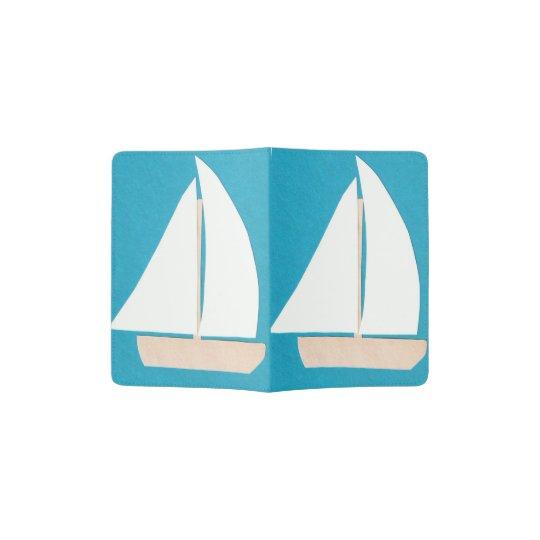 Tenedor del pasaporte de la turquesa con un velero portapasaportes