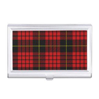 Tenedor rojo de la tarjeta de visita del tartán cajas de tarjetas de presentación