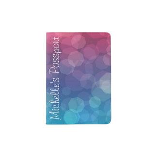 Tenedor rosado/azul del pasaporte de las burbujas portapasaportes