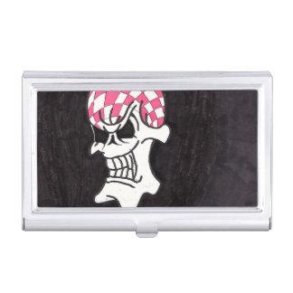 Tenedor rosado de la tarjeta de visita del cráneo cajas de tarjetas de visita
