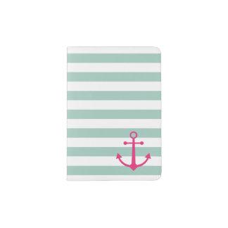 Tenedor rosado rayado del pasaporte del ancla portapasaportes
