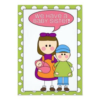 ¡tenemos una hermana del bebé! annoucement (de los invitación 12,7 x 17,8 cm