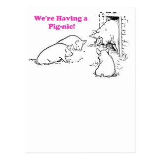 Tener un dibujo animado divertido del cerdo de la postal