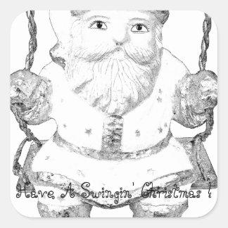 ¡Tenga navidad de balanceo Papá Noel! Pegatina Cuadrada