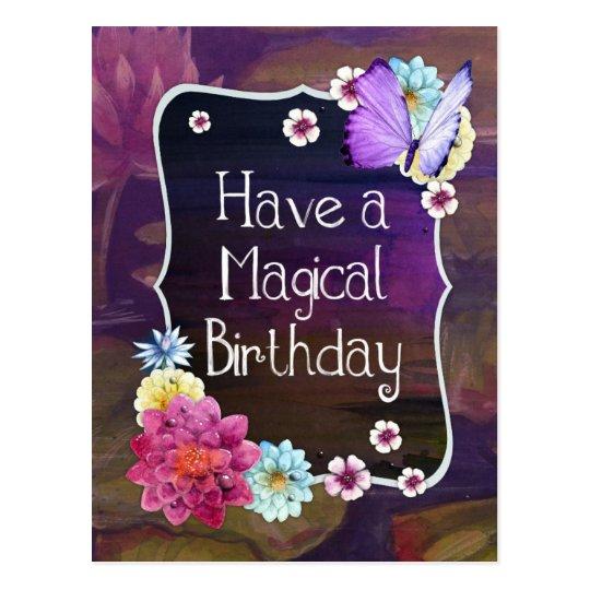 Tenga un arte floral colorido del cumpleaños postal