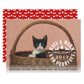 Tenga un navidad caliente y del purrfect del día invitación 12,7 x 17,8 cm