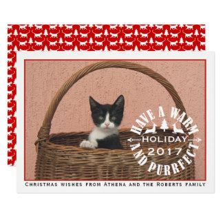 Tenga un navidad rojo caliente y del purrfect del invitación 12,7 x 17,8 cm