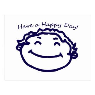 Tenga una cara feliz del día feliz postal