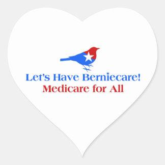 Tengamos Berniecare - Seguro de enfermedad para Pegatina En Forma De Corazón