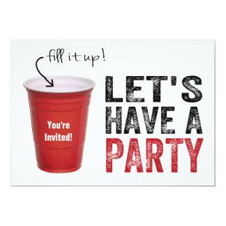 ¡Tengamos un fiesta! Taza roja divertida Invitación 12,7 X 17,8 Cm