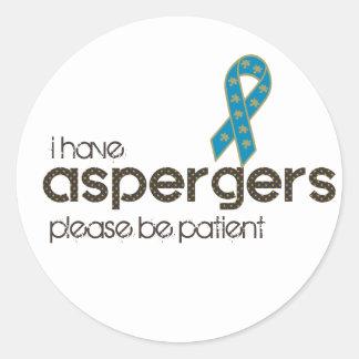 Tengo Aspergers Pegatina Redonda