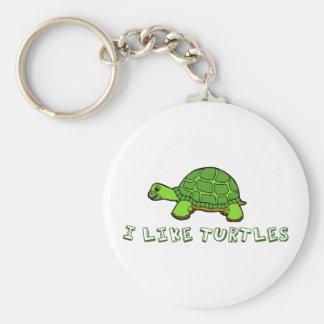 Tengo gusto de lindo verde de las tortugas llavero redondo tipo chapa