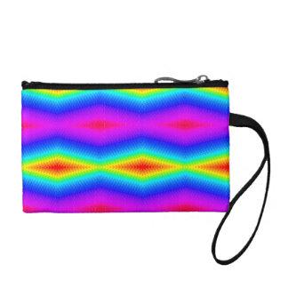 Teñido anudado del arco iris clutch tipo monedero