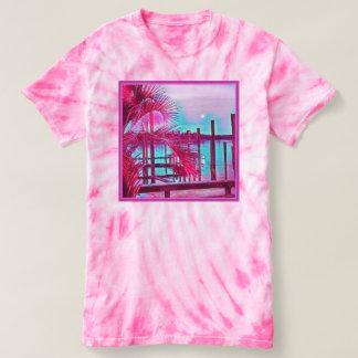 Teñido anudado rosado para mujer camisa-tropical camiseta