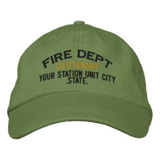 Teniente Firefighter Hat de Personalizable Gorro Bordado