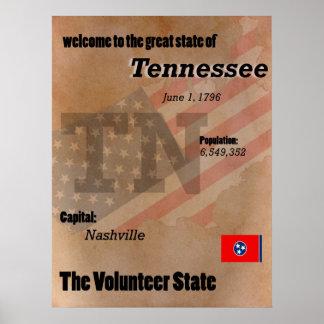 Tennessee la obra clásica voluntaria del estado póster