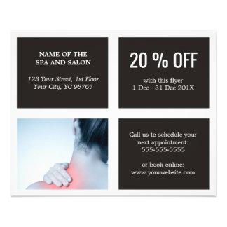 Terapeuta azul blanco oscuro elegante del masaje flyer