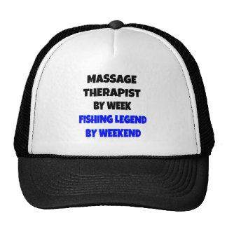 Terapeuta del masaje de la leyenda de la pesca gorro de camionero