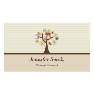 Terapeuta del masaje - tema natural elegante tarjetas personales